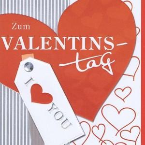 Zum Valentinstag - Karte mit Silber- und Reliefprägung