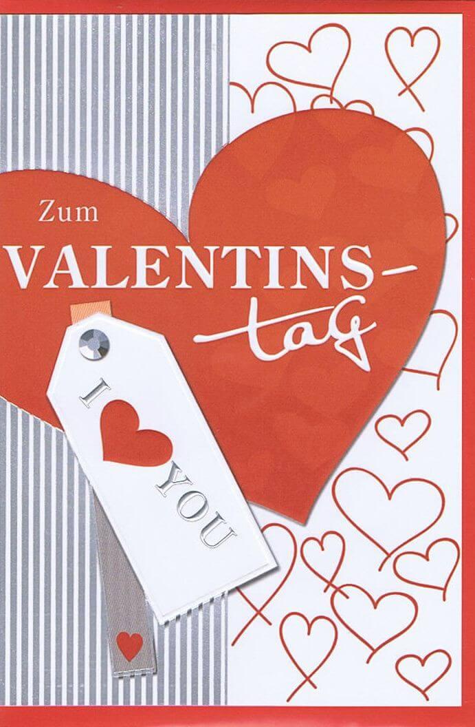 Zum Valentinstag   Karte Mit Silber  Und Reliefprägung