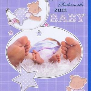 Glückwunschkarte zur Baby blau