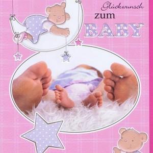 Glückwunschkarte zur Baby rosa