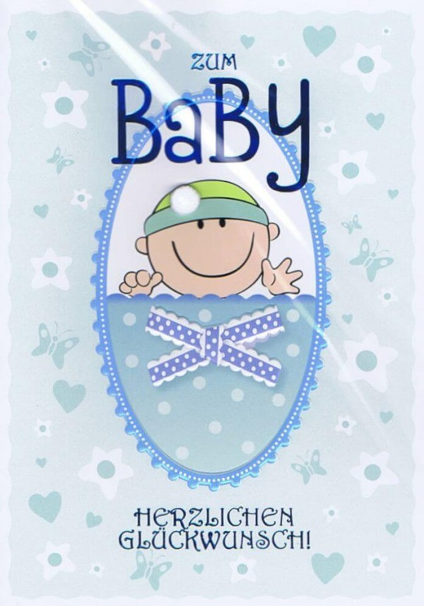 Glückwunschkarte zum Baby blau für Jungen