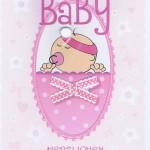 Glückwunschkarte zum Baby rosa für Mädchen