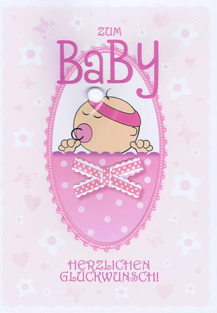 Glückwunschkarte Zum Baby Rosa Für Mädchen Kartenwichtelde