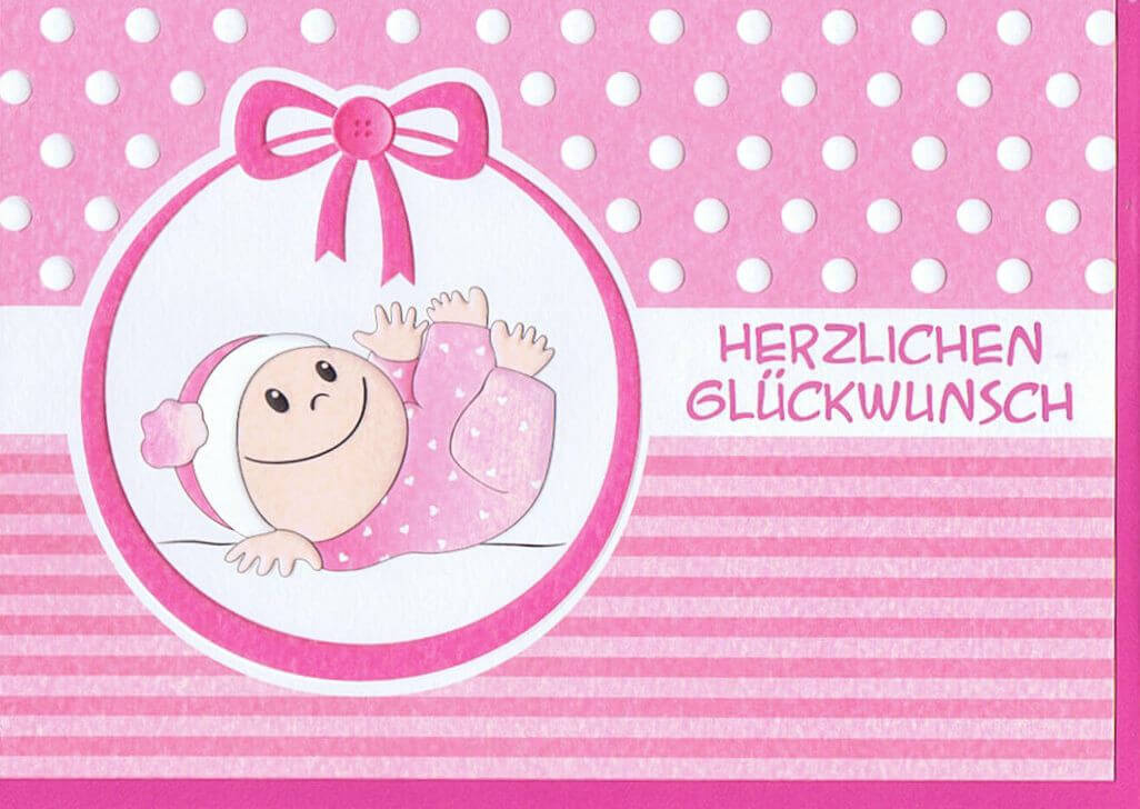 Glückwunschkarte Geburt Rosa Für Mädchen