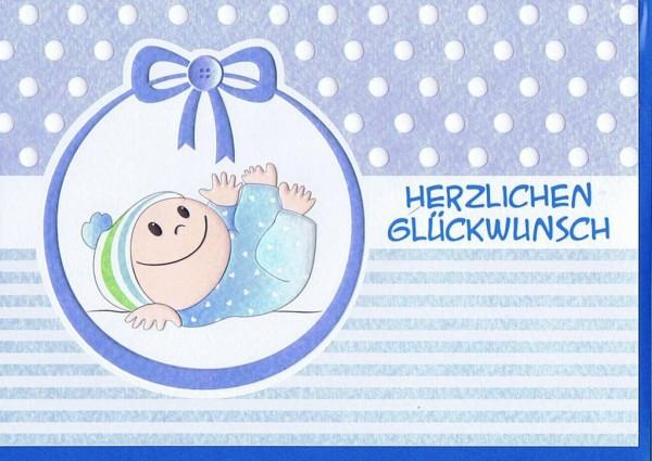 Glückwunschkarte Geburt blau für Jungen