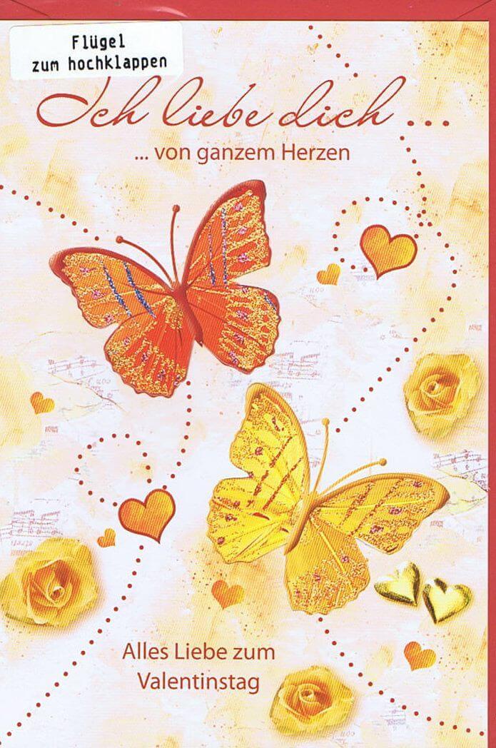 Karte zum Valentinstag - Schmetterlinge