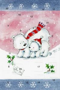 Weihnachtskarte Adventskalender Eisbärenfamilie